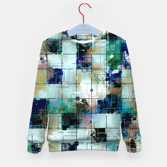 Thumbnail image of psychedelic geometric square pixel pattern abstract background in green blue brown Kid's sweater, Live Heroes
