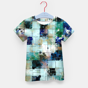 Thumbnail image of psychedelic geometric square pixel pattern abstract background in green blue brown Kid's t-shirt, Live Heroes