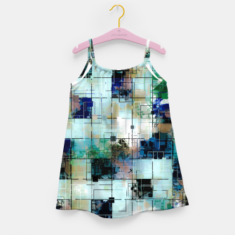 Thumbnail image of psychedelic geometric square pixel pattern abstract background in green blue brown Girl's dress, Live Heroes