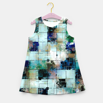 Thumbnail image of psychedelic geometric square pixel pattern abstract background in green blue brown Girl's summer dress, Live Heroes