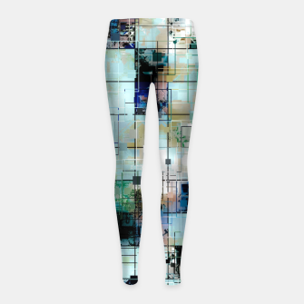Thumbnail image of psychedelic geometric square pixel pattern abstract background in green blue brown Girl's leggings, Live Heroes