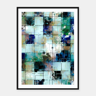 Thumbnail image of psychedelic geometric square pixel pattern abstract background in green blue brown Framed poster, Live Heroes