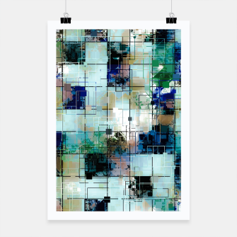 Thumbnail image of psychedelic geometric square pixel pattern abstract background in green blue brown Poster, Live Heroes
