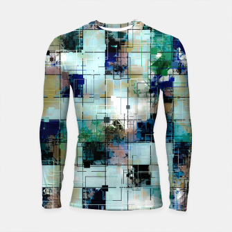 Thumbnail image of psychedelic geometric square pixel pattern abstract background in green blue brown Longsleeve rashguard , Live Heroes
