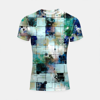 Thumbnail image of psychedelic geometric square pixel pattern abstract background in green blue brown Shortsleeve rashguard, Live Heroes