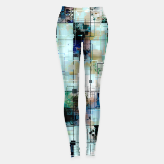 Thumbnail image of psychedelic geometric square pixel pattern abstract background in green blue brown Leggings, Live Heroes