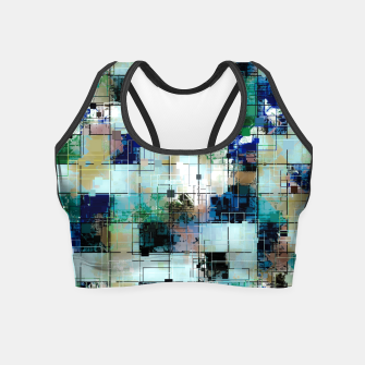 Thumbnail image of psychedelic geometric square pixel pattern abstract background in green blue brown Crop Top, Live Heroes