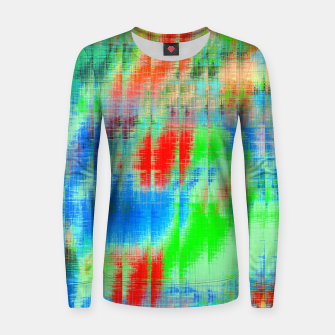 Thumbnail image of psychedelic geometric painting texture abstract background in blue green red Women sweater, Live Heroes