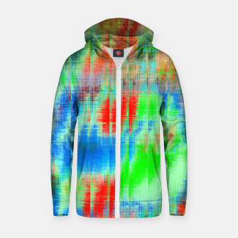 Thumbnail image of psychedelic geometric painting texture abstract background in blue green red Zip up hoodie, Live Heroes