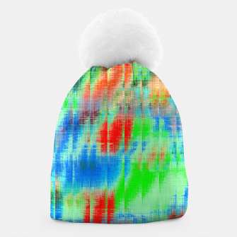 Thumbnail image of psychedelic geometric painting texture abstract background in blue green red Beanie, Live Heroes