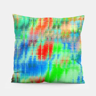 Thumbnail image of psychedelic geometric painting texture abstract background in blue green red Pillow, Live Heroes