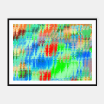 Thumbnail image of psychedelic geometric painting texture abstract background in blue green red Framed poster, Live Heroes