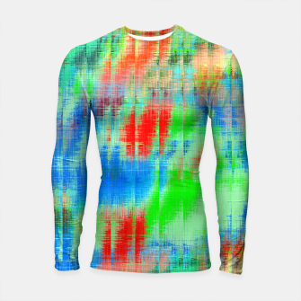 Thumbnail image of psychedelic geometric painting texture abstract background in blue green red Longsleeve rashguard , Live Heroes