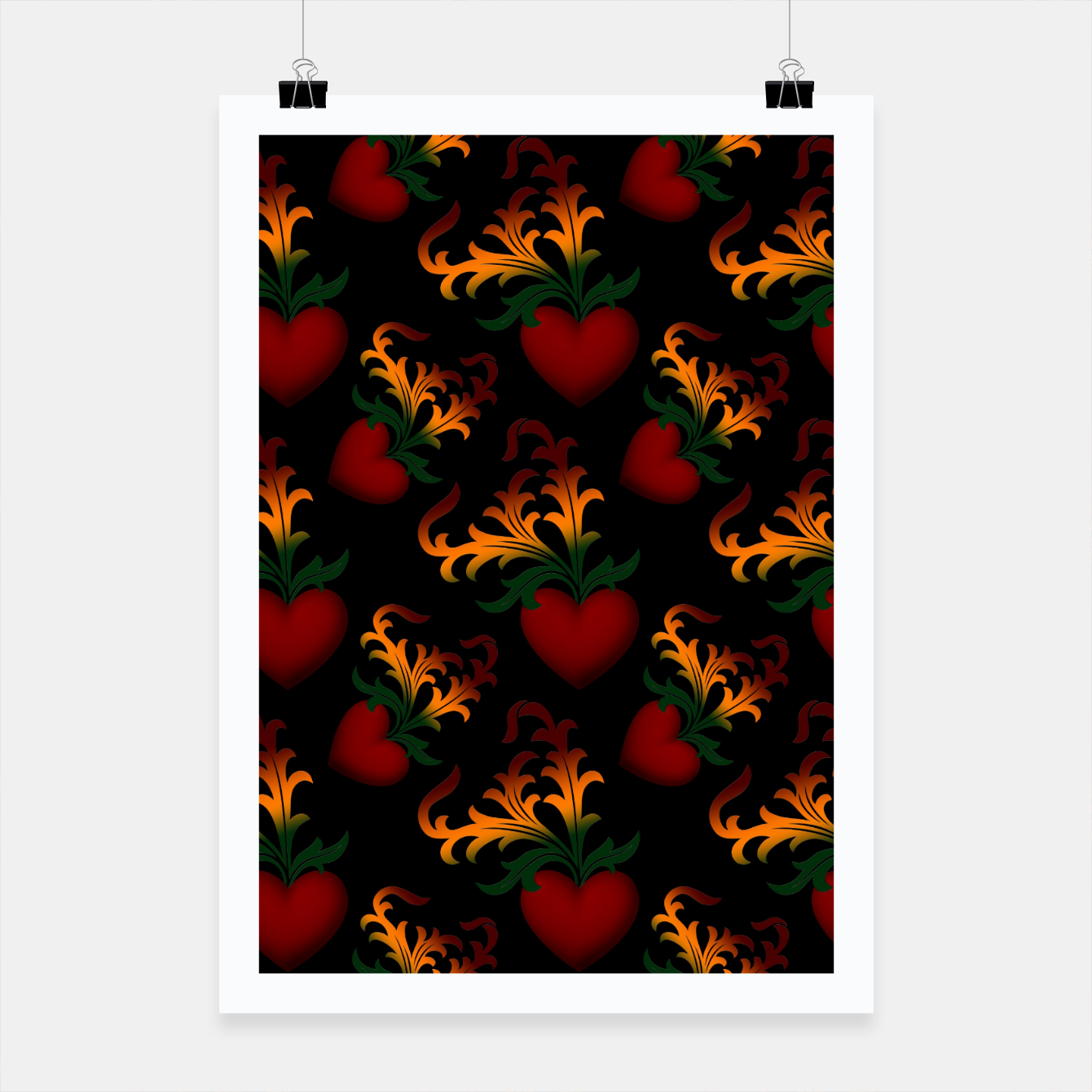 Image of Flourish Hearts Black Background Poster - Live Heroes