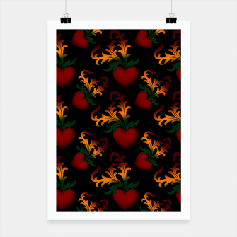 Miniaturka Flourish Hearts Black Background Poster, Live Heroes