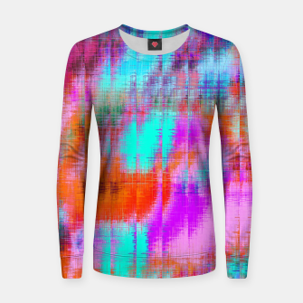 Thumbnail image of psychedelic geometric painting texture abstract background in pink blue orange purple Women sweater, Live Heroes