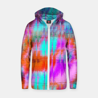 Thumbnail image of psychedelic geometric painting texture abstract background in pink blue orange purple Zip up hoodie, Live Heroes