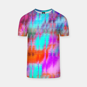 Thumbnail image of psychedelic geometric painting texture abstract background in pink blue orange purple T-shirt, Live Heroes