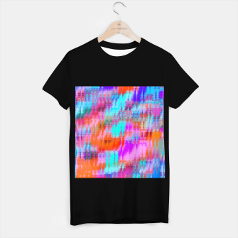 Thumbnail image of psychedelic geometric painting texture abstract background in pink blue orange purple T-shirt regular, Live Heroes