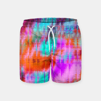Thumbnail image of psychedelic geometric painting texture abstract background in pink blue orange purple Swim Shorts, Live Heroes