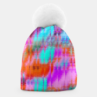 Thumbnail image of psychedelic geometric painting texture abstract background in pink blue orange purple Beanie, Live Heroes