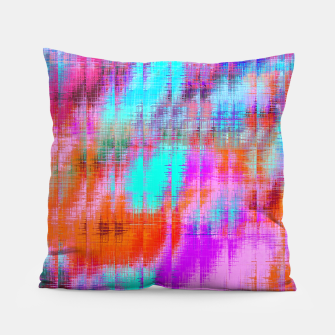 Thumbnail image of psychedelic geometric painting texture abstract background in pink blue orange purple Pillow, Live Heroes