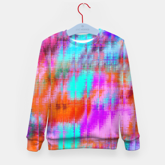 Thumbnail image of psychedelic geometric painting texture abstract background in pink blue orange purple Kid's sweater, Live Heroes