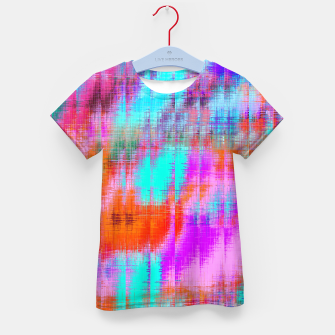 Thumbnail image of psychedelic geometric painting texture abstract background in pink blue orange purple Kid's t-shirt, Live Heroes