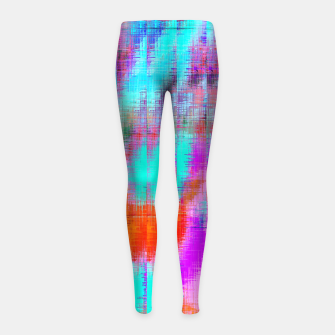 Thumbnail image of psychedelic geometric painting texture abstract background in pink blue orange purple Girl's leggings, Live Heroes