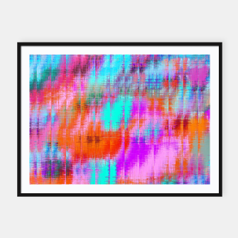 Thumbnail image of psychedelic geometric painting texture abstract background in pink blue orange purple Framed poster, Live Heroes