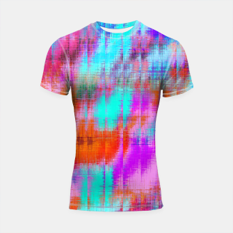 Thumbnail image of psychedelic geometric painting texture abstract background in pink blue orange purple Shortsleeve rashguard, Live Heroes