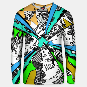 Imagen en miniatura de geometric splash drawing and painting abstract background in blue green brown Unisex sweater, Live Heroes