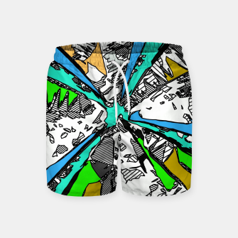 Thumbnail image of geometric splash drawing and painting abstract background in blue green brown Swim Shorts, Live Heroes