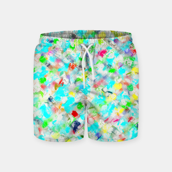 Thumbnail image of splash painting texture abstract background in blue yellow green red pink Swim Shorts, Live Heroes