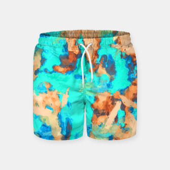 Thumbnail image of splash painting texture abstract background in blue and orange Swim Shorts, Live Heroes