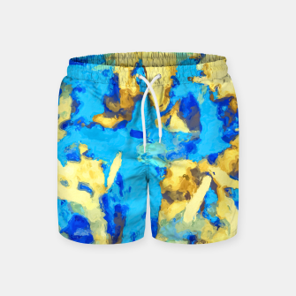 Thumbnail image of splash painting texture abstract background in blue and yellow Swim Shorts, Live Heroes