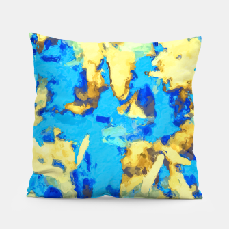 Miniaturka splash painting texture abstract background in blue and yellow Pillow, Live Heroes