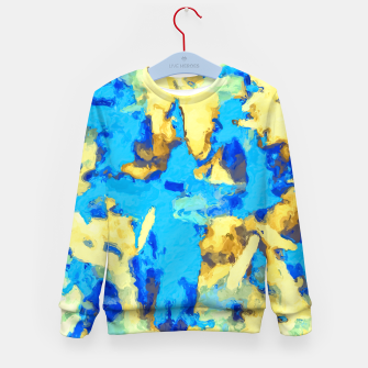 Miniaturka splash painting texture abstract background in blue and yellow Kid's sweater, Live Heroes