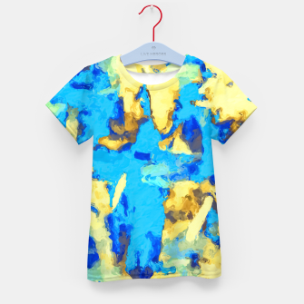 Miniaturka splash painting texture abstract background in blue and yellow Kid's t-shirt, Live Heroes