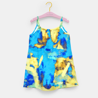 Miniaturka splash painting texture abstract background in blue and yellow Girl's dress, Live Heroes