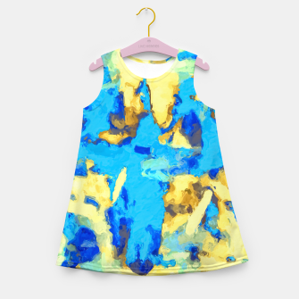 Miniaturka splash painting texture abstract background in blue and yellow Girl's summer dress, Live Heroes