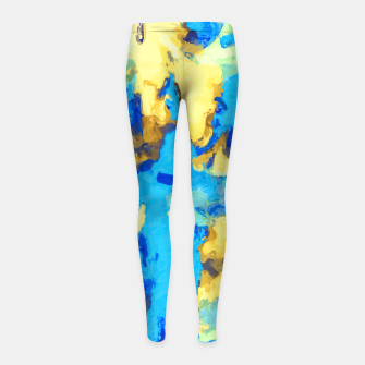 Miniaturka splash painting texture abstract background in blue and yellow Girl's leggings, Live Heroes