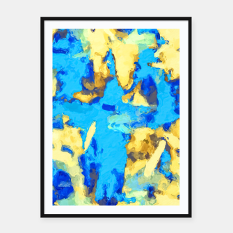 Miniaturka splash painting texture abstract background in blue and yellow Framed poster, Live Heroes