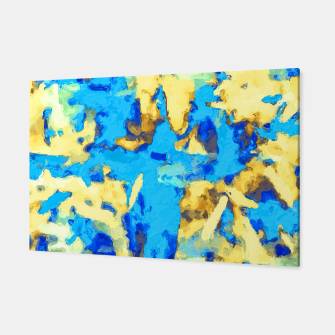 Miniaturka splash painting texture abstract background in blue and yellow Canvas, Live Heroes