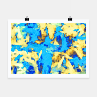 Miniaturka splash painting texture abstract background in blue and yellow Poster, Live Heroes