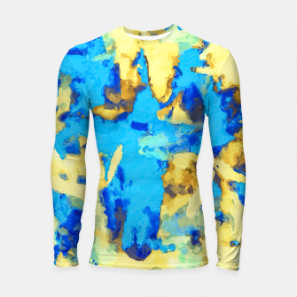 Miniaturka splash painting texture abstract background in blue and yellow Longsleeve rashguard , Live Heroes
