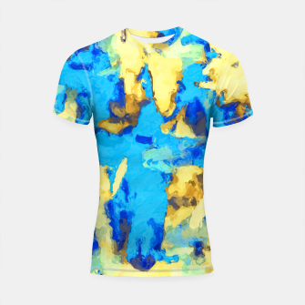 Miniaturka splash painting texture abstract background in blue and yellow Shortsleeve rashguard, Live Heroes
