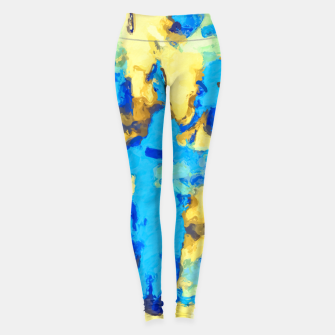 Miniaturka splash painting texture abstract background in blue and yellow Leggings, Live Heroes
