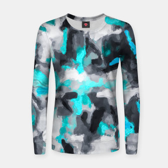 Miniaturka splash painting texture abstract background in blue and black Women sweater, Live Heroes