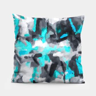 Miniaturka splash painting texture abstract background in blue and black Pillow, Live Heroes